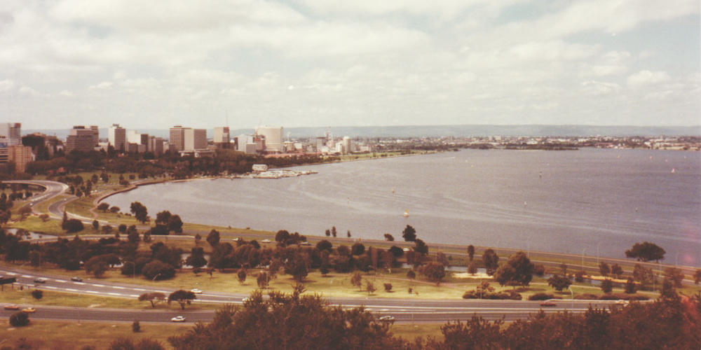 View from a hill in Perth, Western Australia.