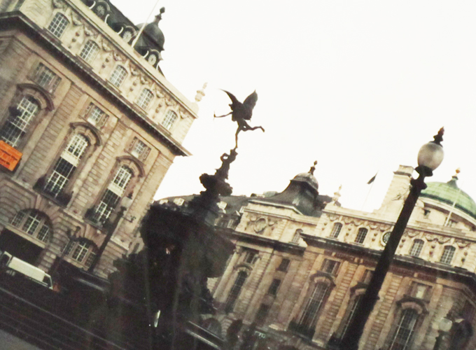 Statue of eros at piccadilly circus.