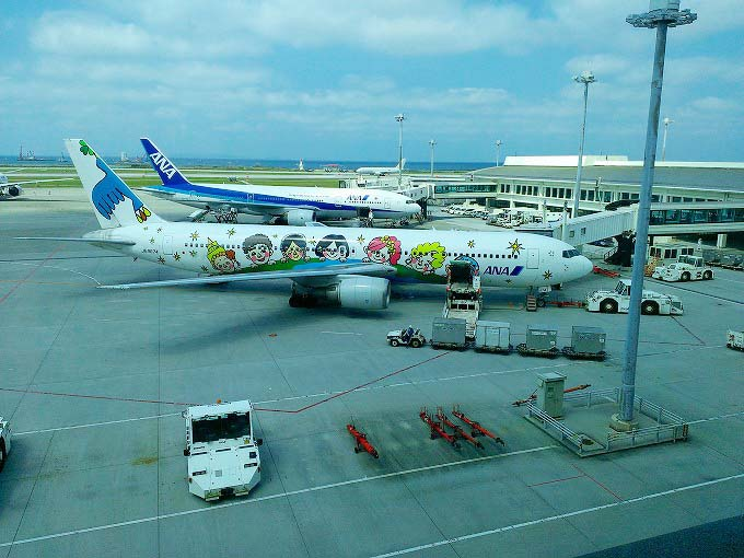 An ANA plane with cute illustrations