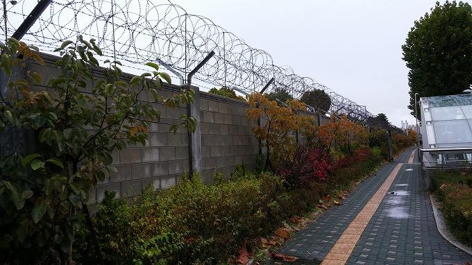 地上に出てみると有刺鉄線 - 国立中央博物館へ(To National Hangeul Museum.)