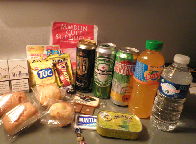 The snacks and drinks which I bought from the store.