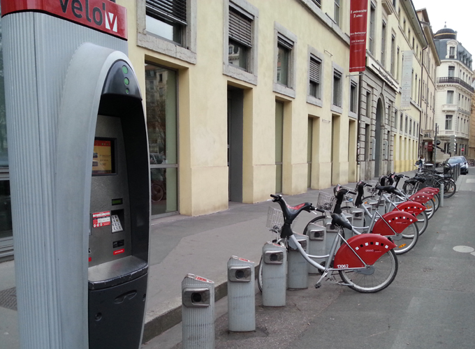 Auto rental bicycle on the street.