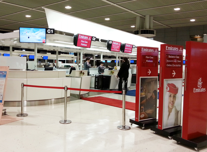 Check-in counter of the Emirates airline.